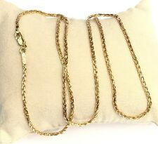 18k Solid Gold Unisex Solid Wheat Chain/Necklace Dimond Cut 24 Inches.14.21Grams