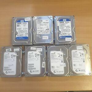 """7x Joblot 500GB 3.5"""" Sata Hard drives 4x Seagate, 2x Western Digital 1x Toshiba"""