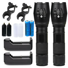 990000LM Genuine LED Tactical Flashlight Military Grade Torch 18650 Light Char