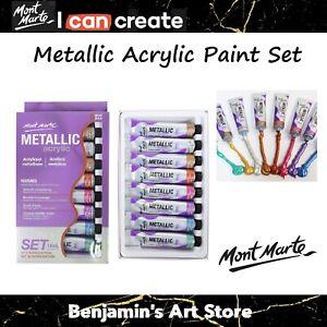 AU 8pc Metallic Acrylic Paint Set 18ml Mont Marte Craft Art Supply Artist
