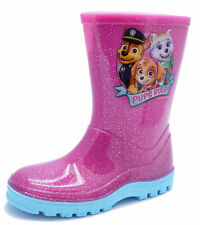 GIRLS PINK PAW PATROL SPLASH BOOTS RAIN WELLIES WELLINGTONS KIDS SIZES 5-10