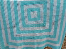 Blue and White lap blanket throw afghan handmade from estate 68 x 64