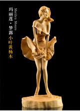 "7.2"" Art China Natural Boxwood Wood Handcarved Beautiful Marilyn Monroe Statue"