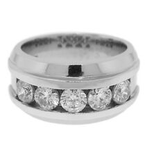 2.75ct  5pcs ROUND Channel Set Diamond Men's Wedding Band Ring in 14k White Gold