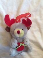 Millars / Ark Gray Plush Red Nosed Reindeer Christmas Ornament