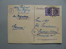 GERMANY ALL. OCC., uprated prestamped PC 1946, twin franking Kontrollrat stamps
