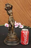 Art Nouveau Deco Home Decor Nude Female Bronze Sculpture Marble Base Figurine