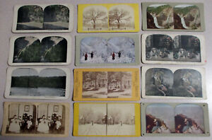 Lot of 12 Stereoscope Picture Cards Slides Vintage Stereoviews Mix