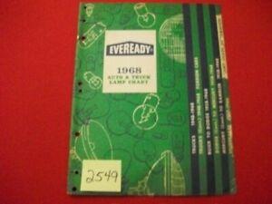 1968 EVEREADY AUTO & TRUCK LAMP CHART DOMESTIC & IMPORT CARS & DOM. TRUCKS CAT.
