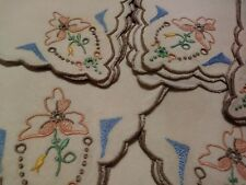 Madeira Embroidered Set of Six 10 1/2 inch square linen napkins