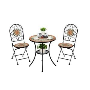 Pool Side Mosaic Furniture Set Bistro Table with Folding Chairs Dinning Sets New