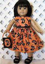 "18"" Doll Halloween Black Cat Dress Handmade 18 inch American Made Doll Clothes"