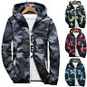 Men Waterproof Windbreaker Camo Hoodie Zip Jacket Hooded Sweatshirt Coat Outwear