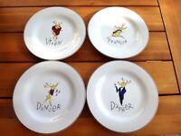 "4--Pottery Barn 8 3/8"" Salad/Dessert/Luncheon Vixen/Prancer/more Reindeer Plates"