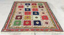 Large Handmade Wool Kilim Southwestern Geometric Bohemian Multicolor Rug 5'x8'