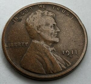 1911 - S - US Lincoln Wheat Cent - Semi Key Date Coin (Q431)