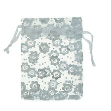 25pcs 7x9cm Premium White Flowers Organza Gift Pouch Bags Wedding X-mas Favor