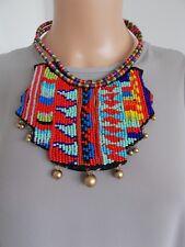 Multi-Coloured Beaded Tribal Bib Style Statement Necklace-UK SELLER