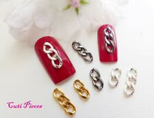 """3D Nail Art """"Chains"""" Gunmetal Gold Silver Curb Style Links Steampunk Alloy Metal"""