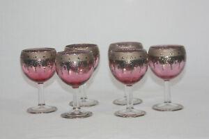 6 Vintage Ornate Renaissance Wine Glass Goblets Cranberry Fade Silver Trim
