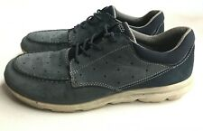 Ecco Perforated Lace-Up Sneaker Shoes Blue Leather Mens Eu 42 Us 8.5/9