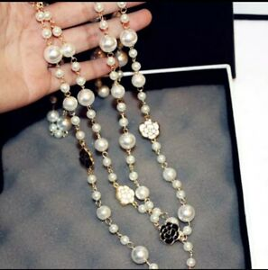 Long Simulated  Pearl cc Maxi Necklace For Women Flower Double Layer