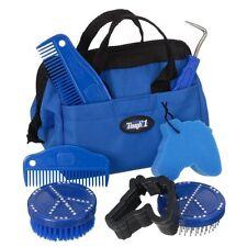 NEW Tough 1 HORSE GROOMING KIT Blue Tote Bag Peace Brush Comb Hoof Pick Sponge!