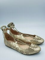 TORRID Cutout Distress Gold Metallic  Scallop Lace Up Ballet Flats Size 11 Wide