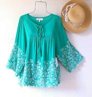 New~Mint Green & White Embroidered Peasant Blouse Shirt Boho Top~Size XL