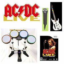 NEW AC/DC Nintendo Wii-U/Wii Rock Band ACDC Game Set w/drums, guitar, mic bundle