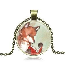 Vintage Cabochon Tibetan Silver/Bronze Glass Fox Charm Pendant Necklace #94
