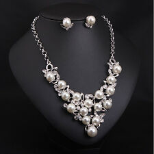 ! NiX 1469 Pearl Beaded Crystal Leaf Silver Plated Necklace Set Women Earrings
