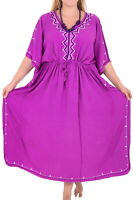 LA LEELA Women's Maxi Kaftan Dresses Sleepwear Cover Up US 14-20W Purple_M800