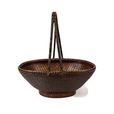 19th Century Chinese Oval Bamboo Basket With Long Handle