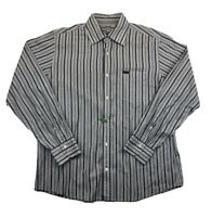 Faconnable Multicolor Striped Button Front Long Sleeve Mens Large