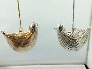 2 Glass Silver and Gold Effect Bird Christmas Tree Decorations Set 13