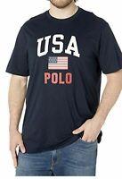 Men's SZ Large Polo Ralph Lauren Americana Aviator USA Flag SS T-Shirt Navy