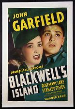 BLACKWELL'S ISLAND JOHN GARFIELD ROSEMARY LANE 1939 1-SHEET
