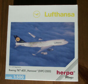 """HERPA 512015 1:500: Boeing 747-400 """" LUFTHANSA HANNOVER EXPO 2000 """" OVP"""