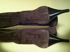 Fendi Dark Brown Suede Knee High Heels - Size 36