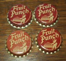 Lot of 4 Vintage Duke Fruit Punch Unused Soda Pop Bottle Caps 1960's Cork Lined