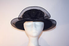 Women's Black Wool Wide Brim Hat with Bow