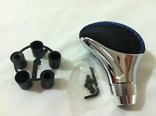 Motorsport Blue/Chrome Stitch Gear Shifter Shift Knob Manual Transmission Stick