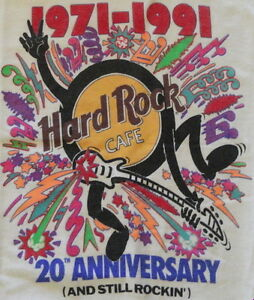 "Hard Rock Cafe 1991 20th Anniversary STILL ROCKIN White Tee SHIRT Medium 20""x19"""