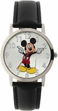 Disney Mickey Mouse Men's Round Imitation Silver And Black Watch, Faux Leather