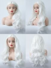 US 24inch Synthetic hair Glueless Lace front wigs Snow white Handtied Wavy Long