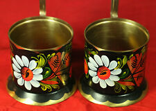 2 PCS of Vintage Russian USSR Brass Hand painted Tea Glass Holder Podstakannik