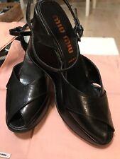 MIU MIU Black Leather Peep Toe Platform Wedge Ankle Strap Shoes US 9 EU 40
