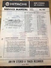 Original Hitachi SDP-9500H, SP-9500 Turntable Stereo 8-Track Service Manual
