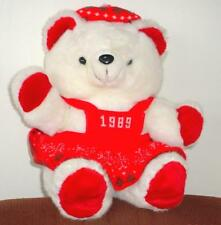 """1989 Kmart CHRISTMAS TEDDY BEAR White Girl 22"""" K mart Red Outfit very Nice Clean"""